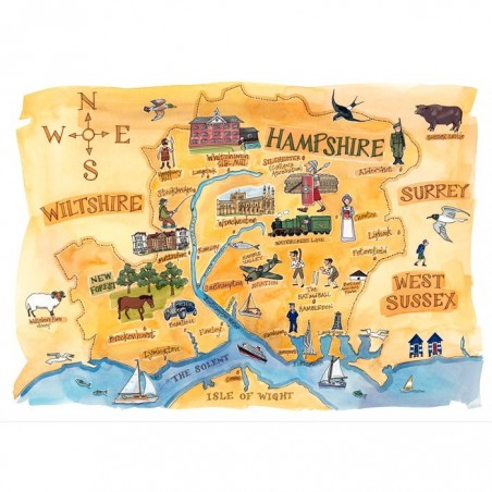 Hampshire Map Postcard
