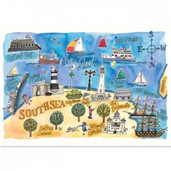 Southsea Map Postcard