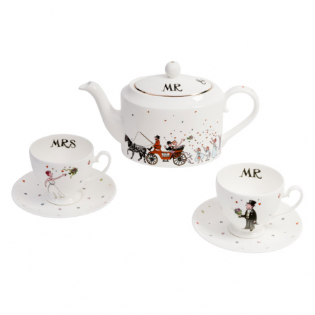 Mr & Mrs Wedding Teapot, Cup & Saucer Set
