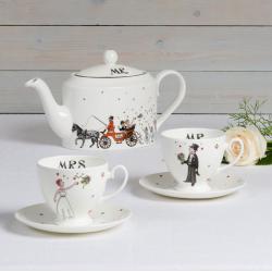 Mr & Mrs Wedding Teapot, Cup & Saucer Set