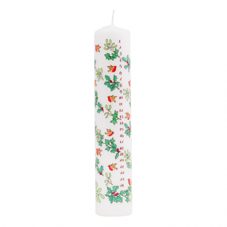 Holly and Ivy Pillar Advent Candle