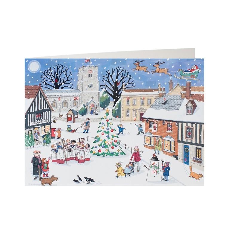 Christmas in the Village Advent Calendar Card