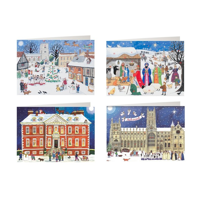 mixed pack of 4 advent calendar cards. Black Bedroom Furniture Sets. Home Design Ideas