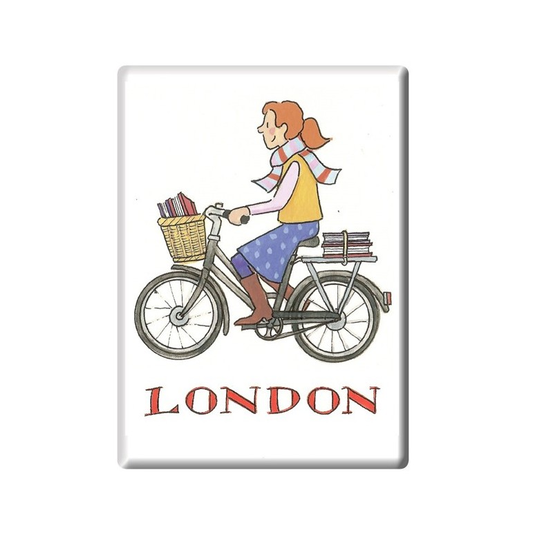 Cycling Student Girl London Fridge Magnet