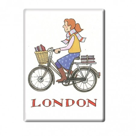 Cycling Student Girl London Fridge Magnet