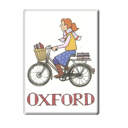 Cycling Student Girl, Oxford Fridge Magnet