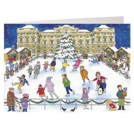 Christmas Ice Skating Advent Calendar Card